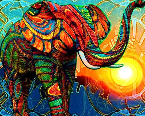 Colorful Sun Elephant - TryPaint