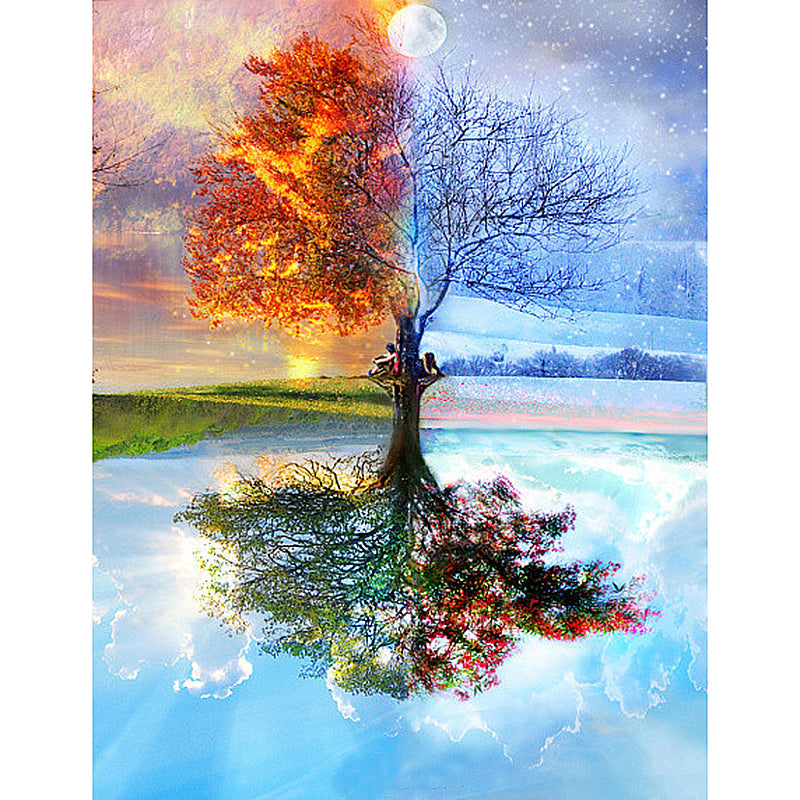 Image result for four seasons tree painting