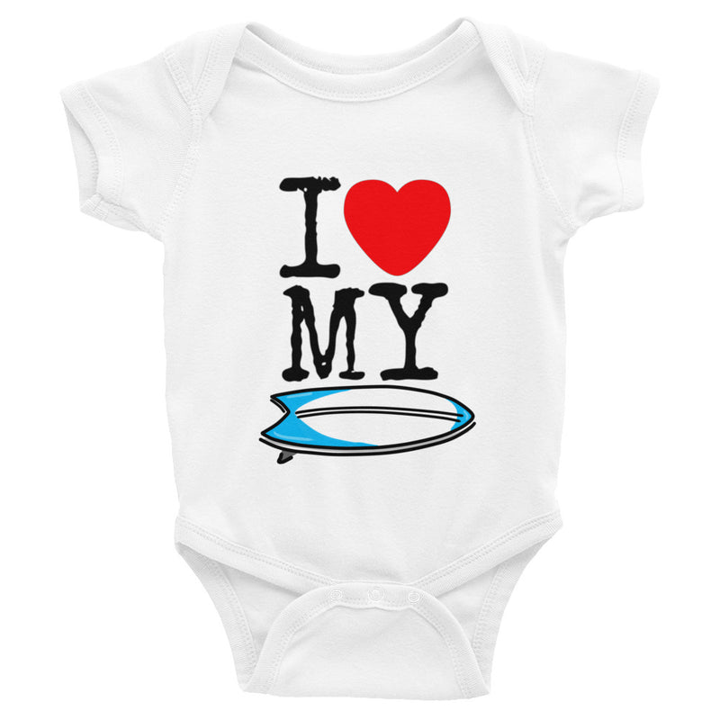 I LOVE MY SURFBOARD Short Sleeve Onesie - The Shaka Company