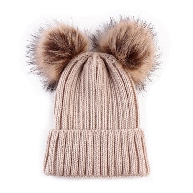 Big & Little Double Pom Pom Knit Beanie - The Shaka Company