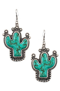 TURQUOISE CACTUS EARRINGS