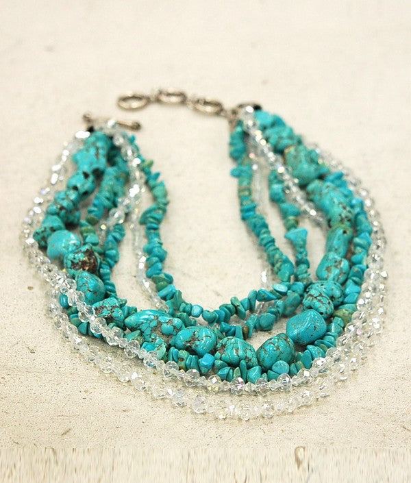 CHUNKY TURQUOISE 7 STRAND NECKLACE