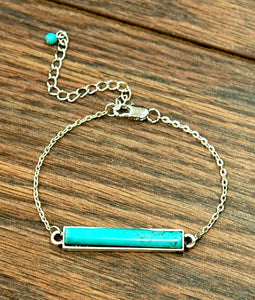 Natural Turquoise Bar Bracelet