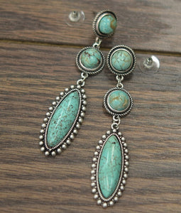 TRIPLE THE TURQUOISE EARRINGS