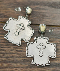 CROSS CONCHO EARRINGS (WHITE POST)