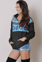 GEOMETRIC AZTEC ZIP UP KNIT PULLOVER