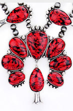 Natural Stone Squash Blossom Tribal Necklace -RED
