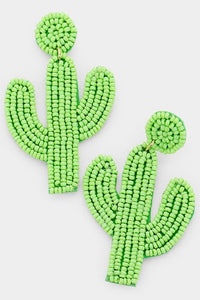 BEADED CACTUS DROP EARRINGS