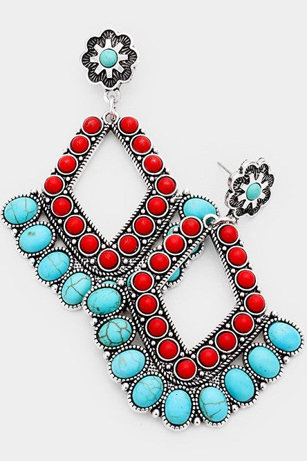 Tribal Oval Res Coral Turquoise Cluster Earrings