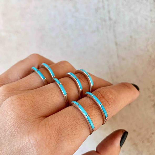 SUPER THIN ZUNI TURQUOISE STACKER RING