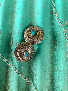 NAVAJO MADE STERLING SILVER + TURQUOISE CONCHO EARRING