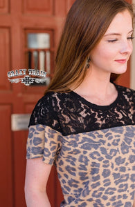 LEOPARD LACE TOP