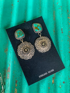 TURQUOISE CONCHO EARRING (2)
