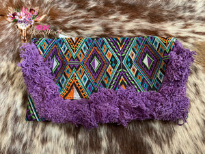 PURPLE FRINGE GEO CLUTCH