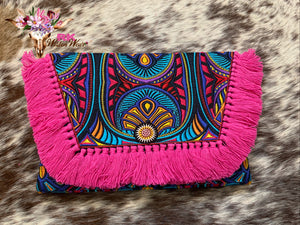 Tribal Tahj Envelope Clutch with Fringe