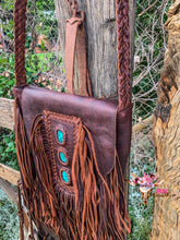 BUTTER LEATHER & TURQUOISE BAG