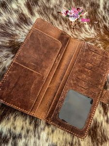TOOLED TAN COWHIDE WALLET
