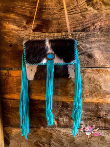 COWHIDE & TURQUOISE FRINGE CLUTCH/CROSSBOSY