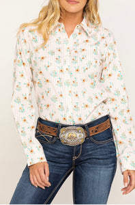 ARIAT Cactus Blossom Kirby Stretch LS Shirt