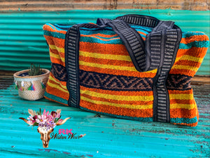 TEAL & ORANGE OVERNIGHT BAG