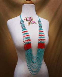 Blue Aztec Beaded Necklace