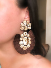 THE ROAN EARRINGS (white buffalo/brown fringe)