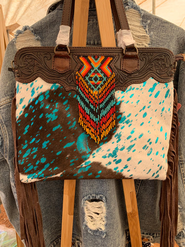 TOOLED & BEADED HANDBAG