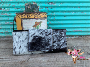 BLACK & WHITE COWHIDE WALLET