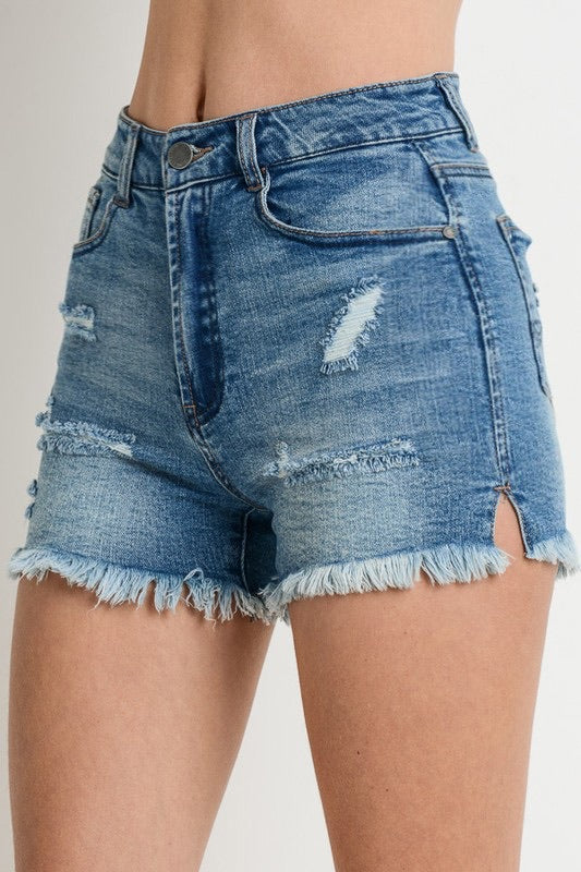 NEW FRINGED DENIM SHORTS