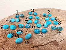 BLUE TURQUOISE OVAL STUD EARRINGS