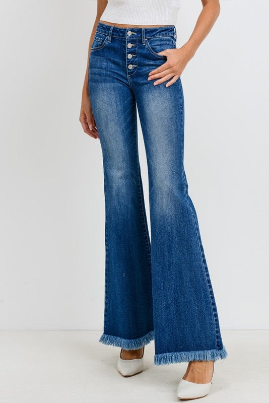 BUTTON DOWN DENIM FLARES