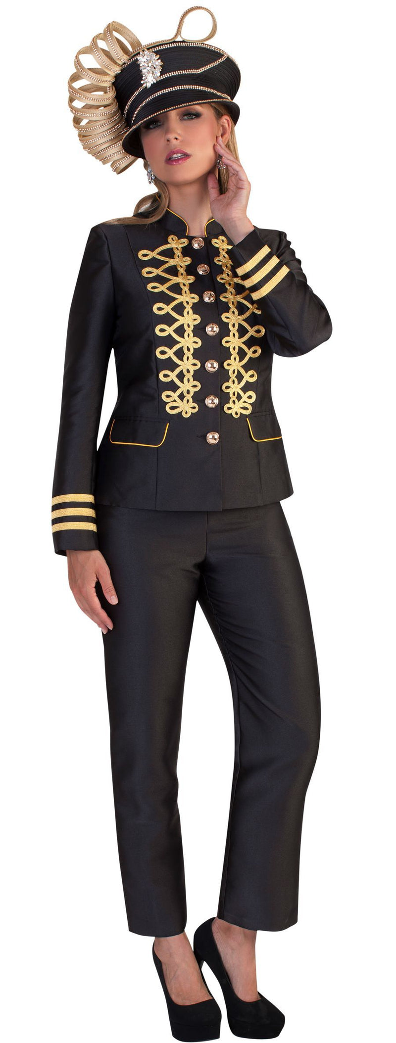 Tally Taylor Suit 4642-Black/Gold - Church Suits For Less