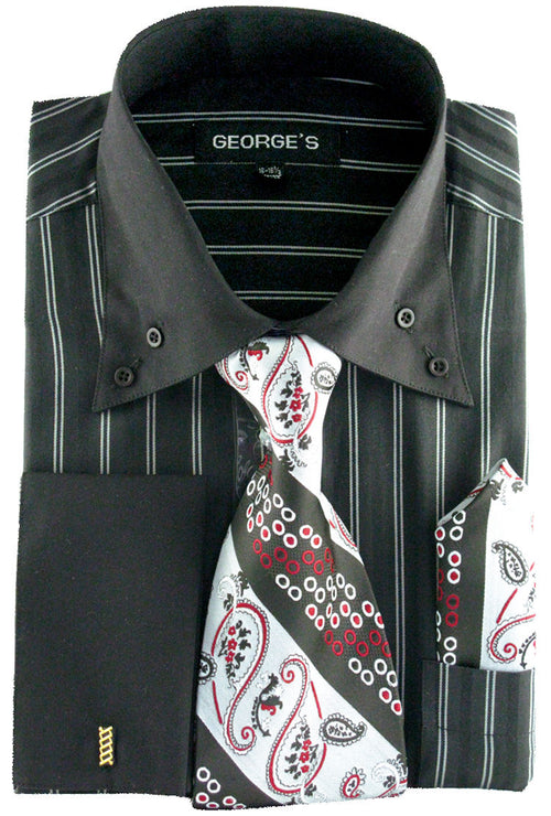 Men Dress Shirt AH601-Black