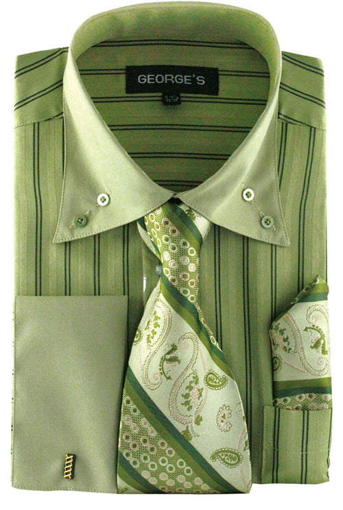 Men Dress Shirt AH601-Olive