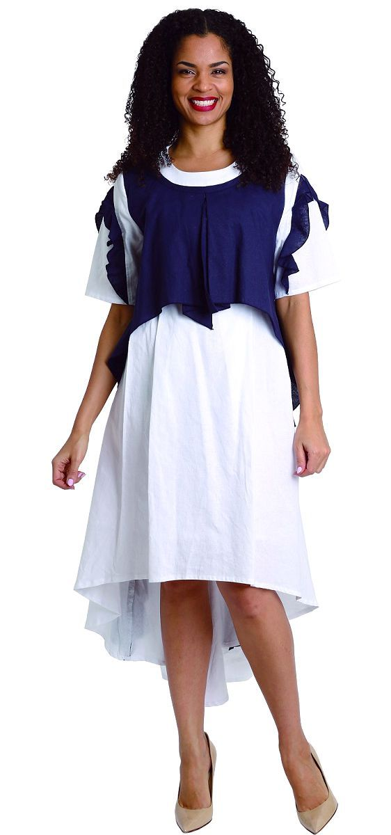 Diana Linen Dress 8217-Navy/White - Church Suits For Less