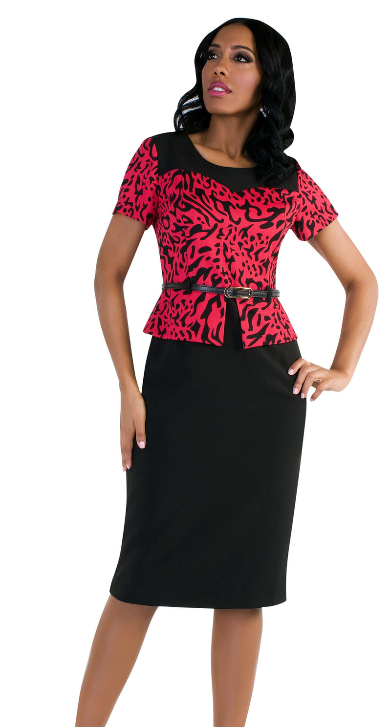 Tally Taylor Dress 9438-Fuchsia/Black - Church Suits For Less