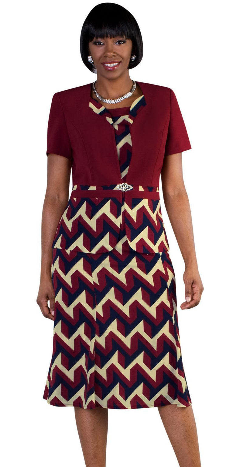 Tally Taylor Dress 9447-Burgundy/Multi - Church Suits For Less