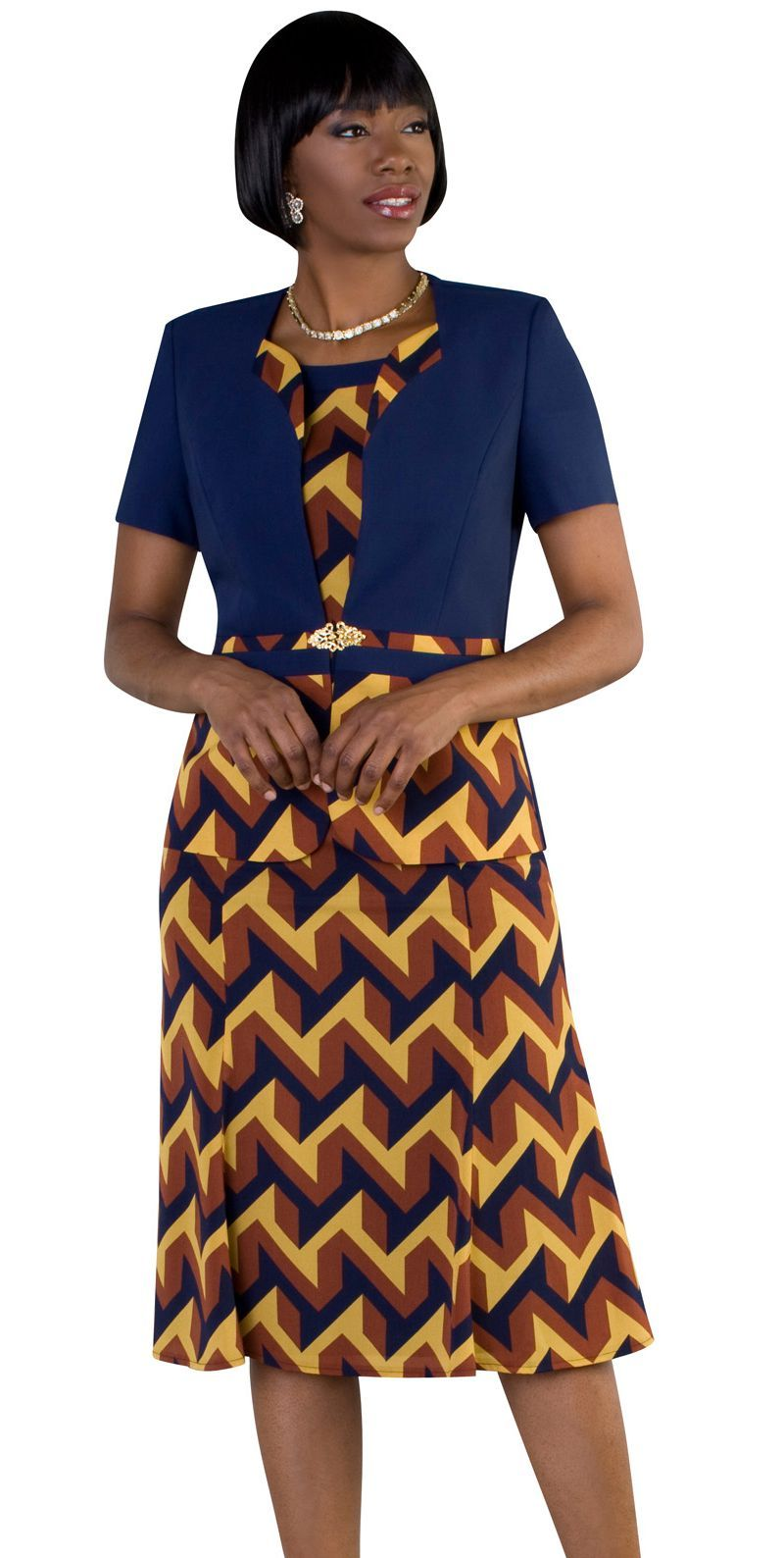 Tally Taylor Dress 9447-Navy/Multi - Church Suits For Less