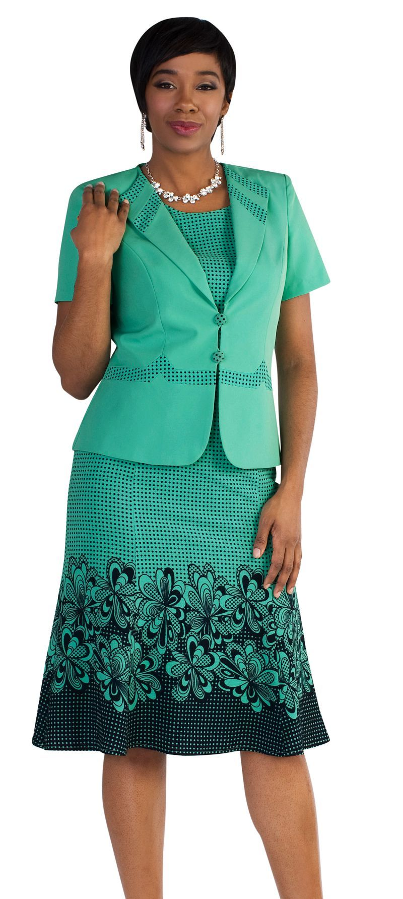 Tally Taylor Dress 9450-Mint/Navy - Church Suits For Less