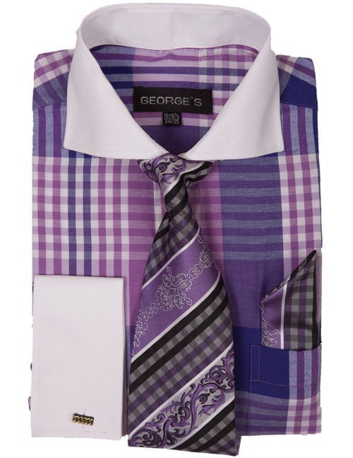 Men Dress Shirt AH626-Purple