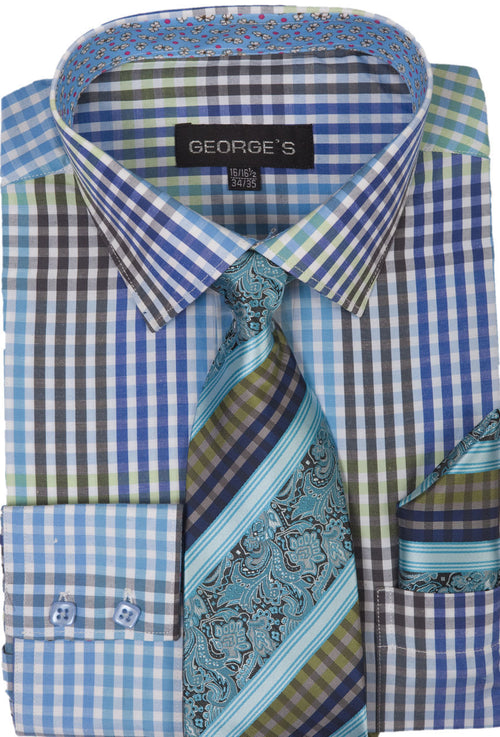 Men Dress Shirt AH627-Aqua