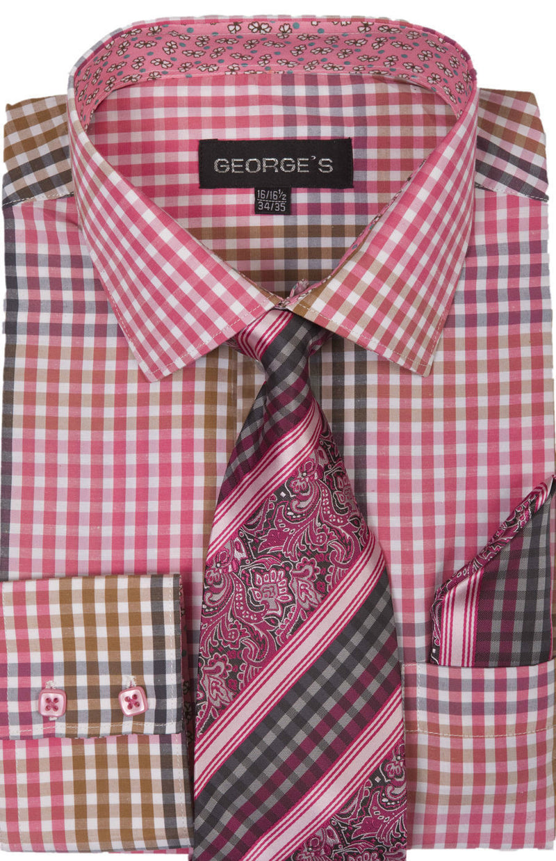 Men Dress Shirt AH627-Fuchsia