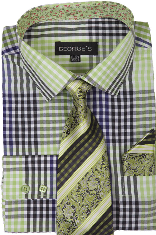 Men Dress Shirt AH627-Lime