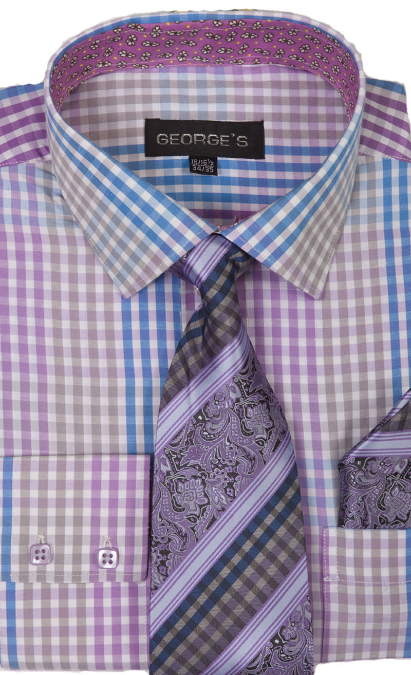 Men Dress Shirt AH627-Purple