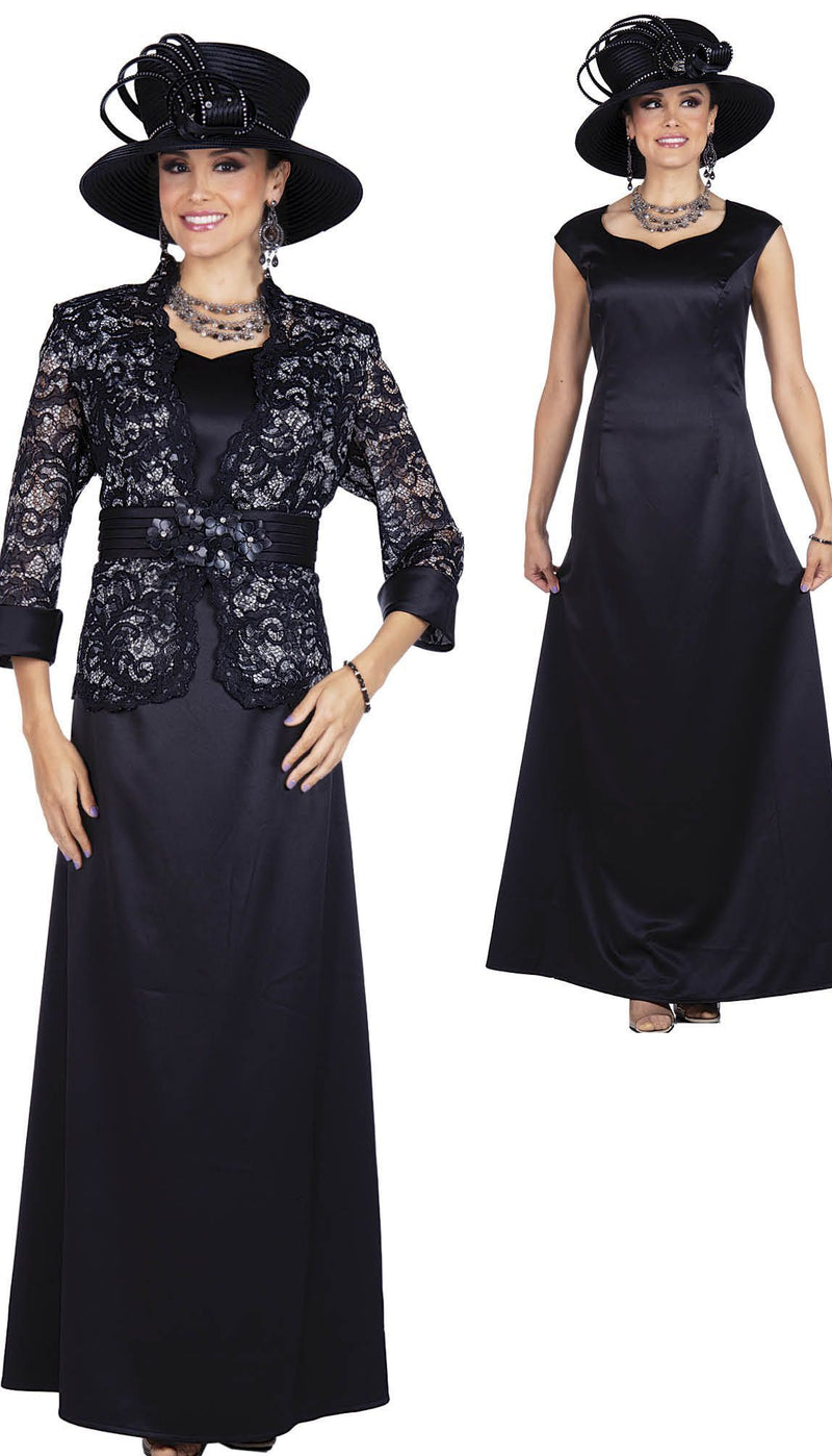 Elite Champagne Dress 5359-Black - Church Suits For Less