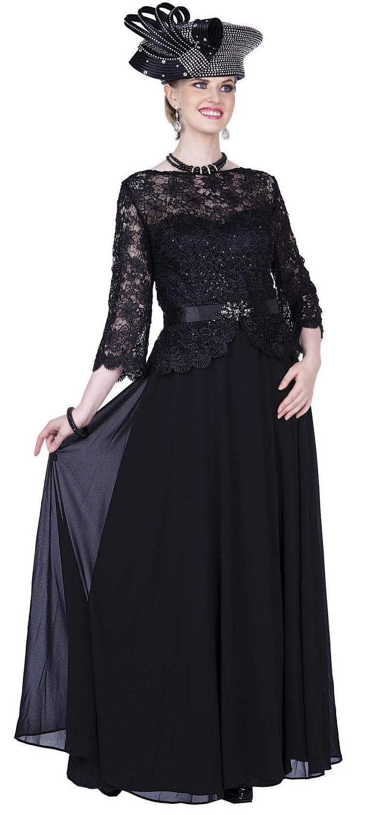 Elite Champagne Dress 5361-Black - Church Suits For Less