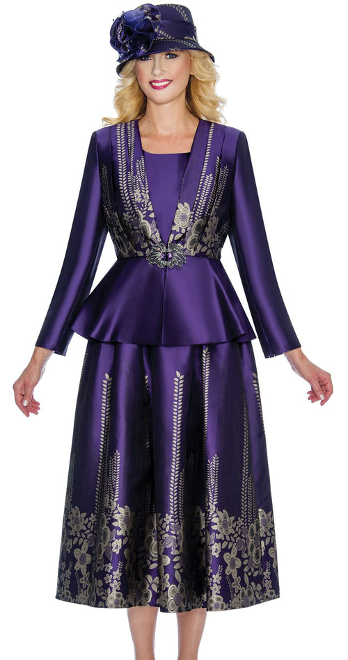 Giovanna Suit G1067-Purple/Gold - Church Suits For Less