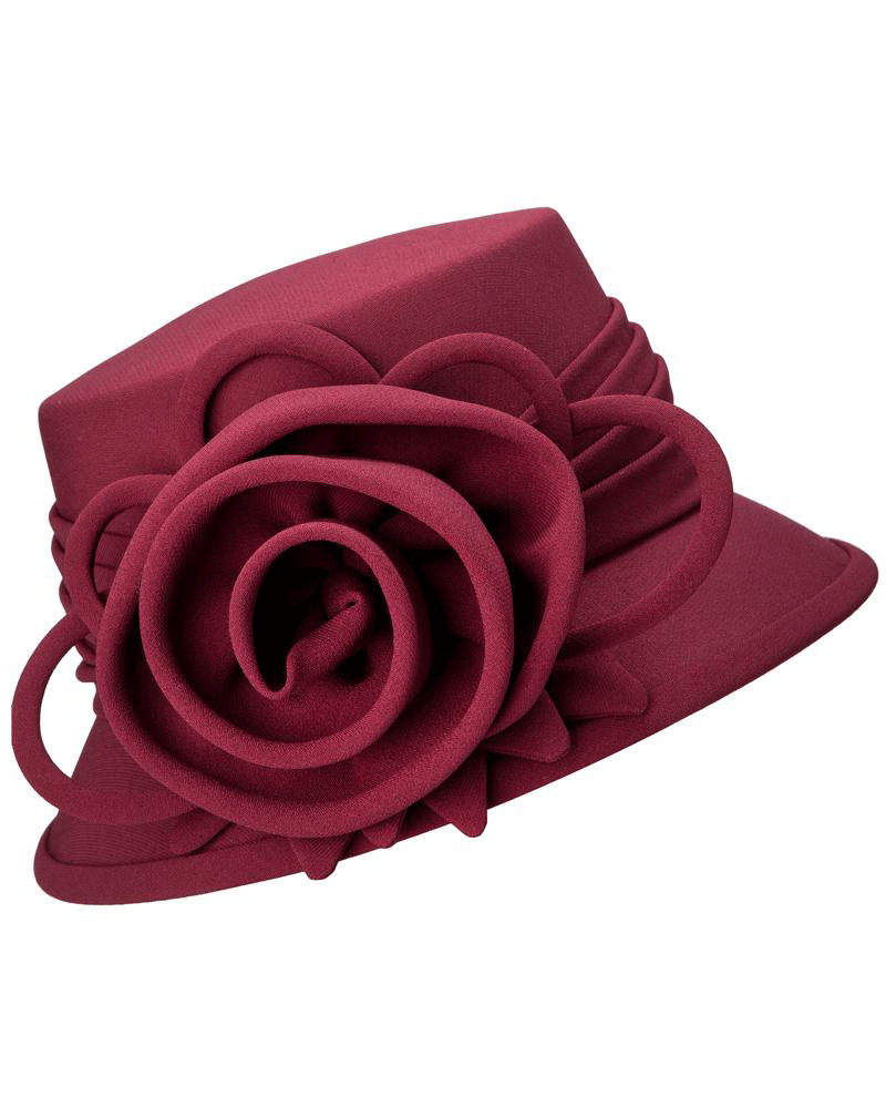 Giovanna Hat HW1007-Burgundy - Church Suits For Less