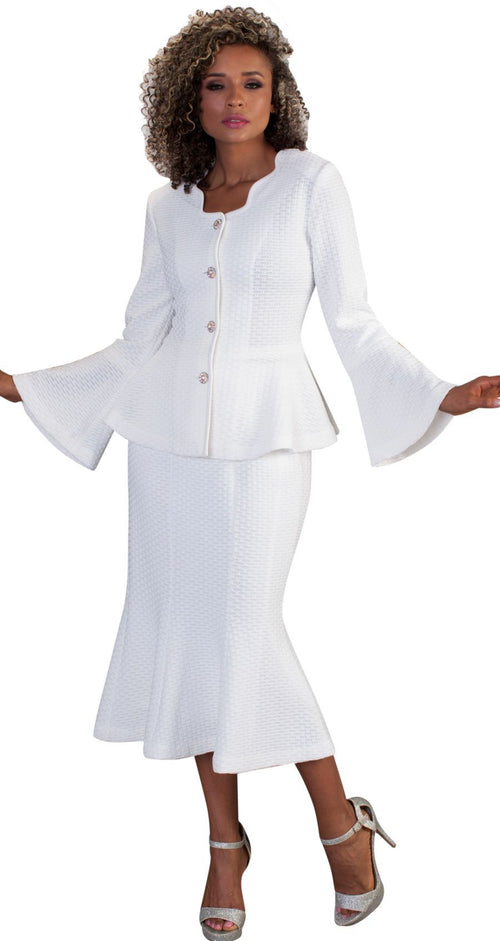 Liorah Exclusive Knit 7237-White - Church Suits For Less