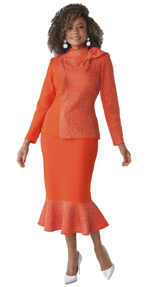 Liorah Knits By Tally Taylor 7244-Orange - Church Suits For Less